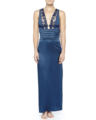 Ricamato Lace-Tulle Satin Gown, Blue