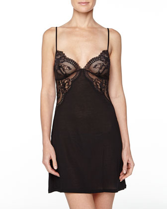 Begonia Lace-Inset Short Gown, Black
