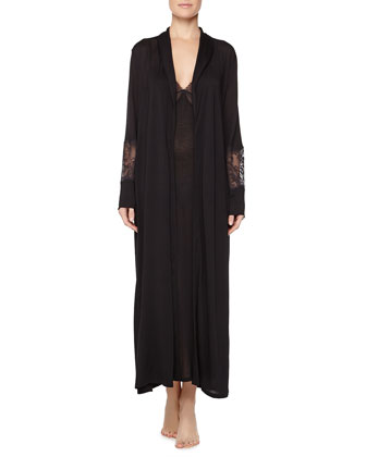Begonia Lace-Inset Long Robe & Long Gown, Black