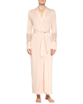 Begonia Lace-Inset Long Robe & Long Gown, Powder