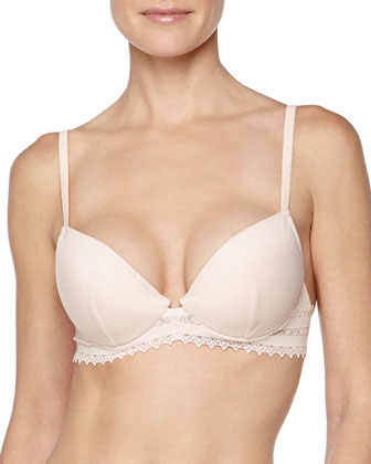 Murano Lattice-Lace Push-Up Bra, Blush