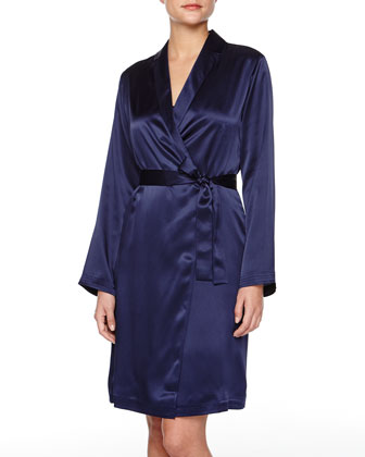 Silk Short Robe, Navy
