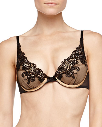 Palazzo Floral Lace Push-Up Bra, Black/Gold