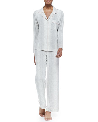 Sleep Chic Snake-Print Pajama Set, Graphite