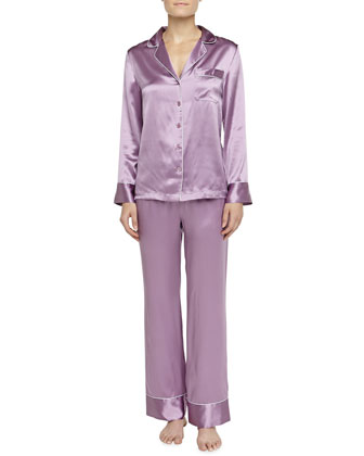 Contrast-Trim Silk Pajamas, Purple-Pink/Dove