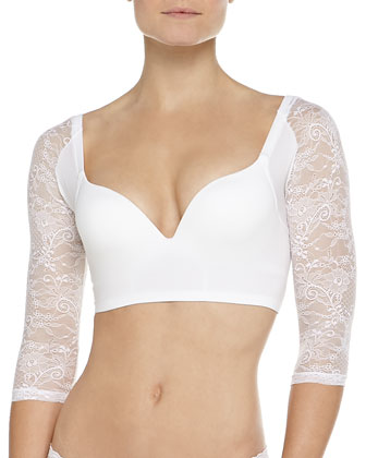 Trenta Betsy Lace-Sleeve Push-Up Bra, White