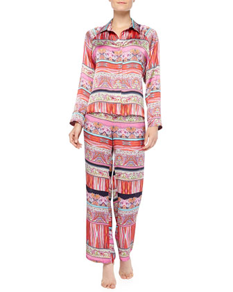 Katina Mixed-Print Pajama Set