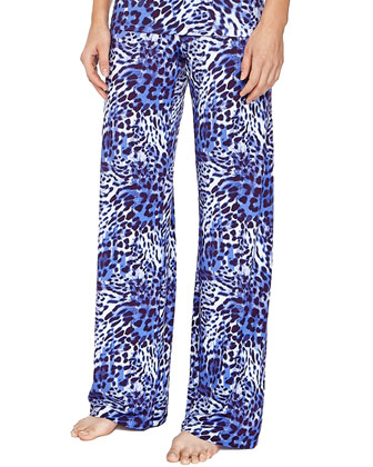 Vindemia Leopard-Print Sleep Top & Pants, Nebbia/Twilight