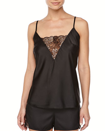 Positano Satin/Shimmer Lace Camisole & Boxers, Black/Silver