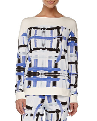 Tartan Brushstroke-Print Sleep Top, Zaffiro