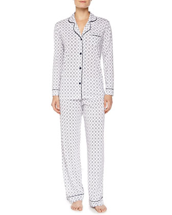 Bella Medallion-Print Long-Sleeve Pajama Set, Twilight/Snowflake