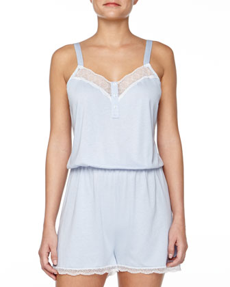 Perugia Medallion Lace-Trimmed Short Jumpsuit, Nebbia/Ivory
