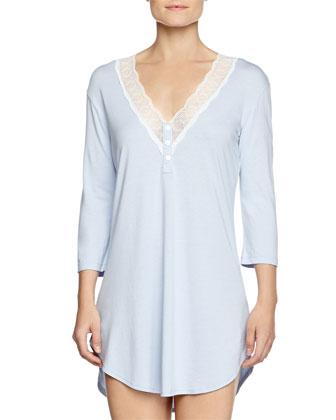 Perugia 3/4-Sleeve Medallion Lace Sleepshirt, Nebbia/Ivory