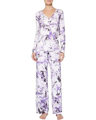 Carrara Marble-Print Pajama Top & Pants, Petal