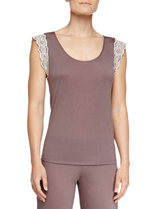 Lady Godiva Jersey Lace Lounge Tee, Purple