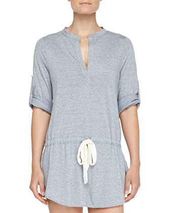 Slub Jersey Drawstring Sleep Tunic, Heather Blue