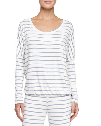 Lounge Striped Slouchy Tee, Blue Shadow