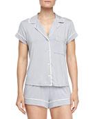 Gisele Boxer-Short Jersey Pajama Set, Blue Shadow
