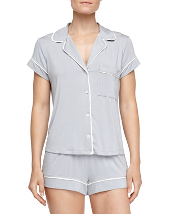 Gisele Boxer-Short Jersey Pajama Set, Blue Shadow