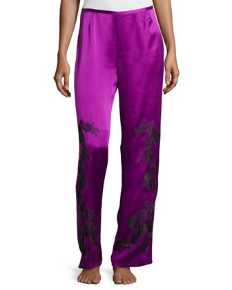Floral-Lace Satin Pajama Pants, Amethyst