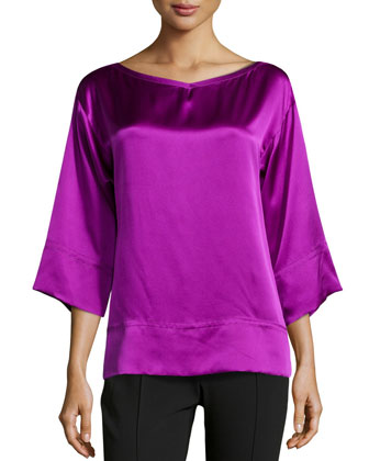 Silk Charmeuse Sleep Top, Amethyst