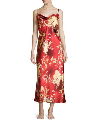 Floral-Print Charmeuse Gown, Imperial Red