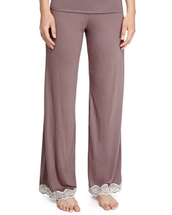 Lady Godiva Jersey Lace Lounge Tee & Pants, Purple