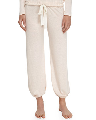 Heather Drawstring Cropped Lounge Pants, Shell