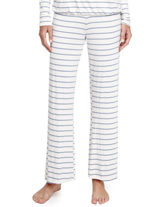 Lounge Striped Wide-Leg Pants, Blue Shadow
