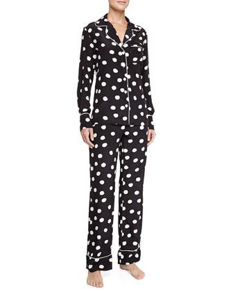 Coco Silk Polka-Dot Pajamas, Black/White