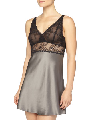 Three-Quarter-Sleeve Satin Short Robe & Lace-Cup Satin Chemise, Anthracite