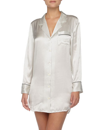 Polka-Dot Charmeuse Sleepshirt, Ivory/Black
