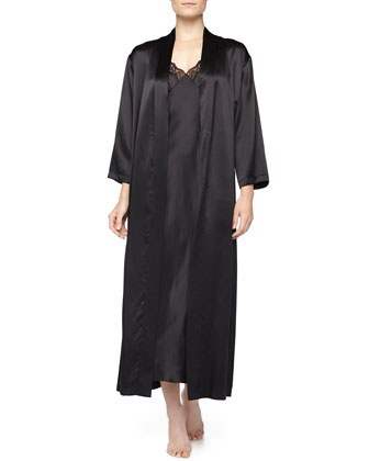 Long Robe & Lace-Trim Satin Gown