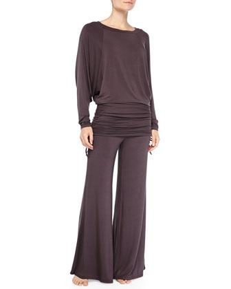 Batwing Top & Palazzo Pants Pajama Set, Shale
