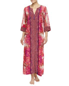 Arabian Sunset Mix-Print Zip Caftan