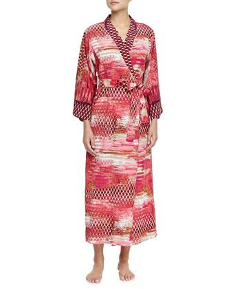 Arabian Sunset Mix-Print Long Robe
