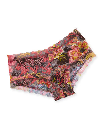 Tapestry Floral Print Lace Boyshorts, Pink