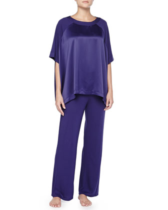 Shangri-La Satin-Paneled Pajama Set, Twilight