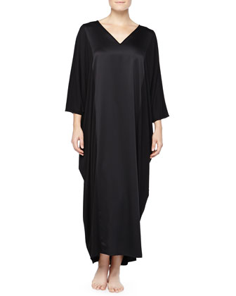 Shangri-La Satin Paneled Caftan, Black