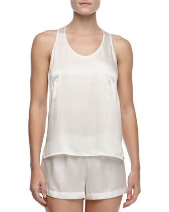 Studio Dolce Sleeveless Silk Tank, Ivory