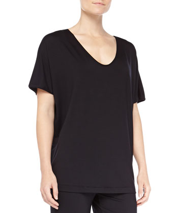 Chelsea Dolman-Sleeve Sleep Shirt, Black