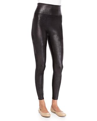 Distressed Faux-Leather Leggings, Black