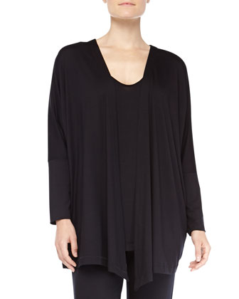 Chelsea Open-Front Dolman Lounge Jacket, Black