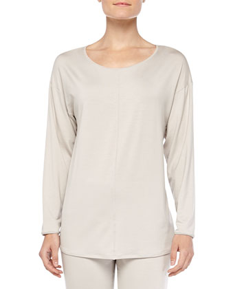 Chelsea Long-Sleeve Sleep Shirt & Fold-Over Yoga Pants, Smoke