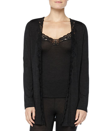 Downtown Lace-Trimmed Silk-Blend Cardigan, Phantom Gray