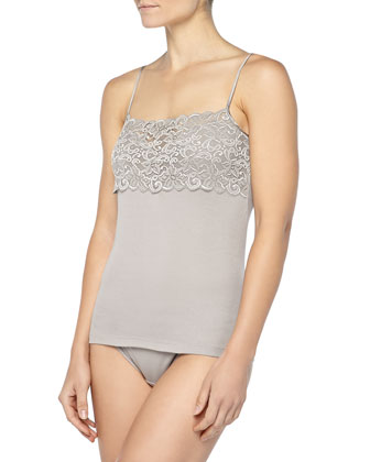 Luxury Moments Wide-Lace Camisole, Ash