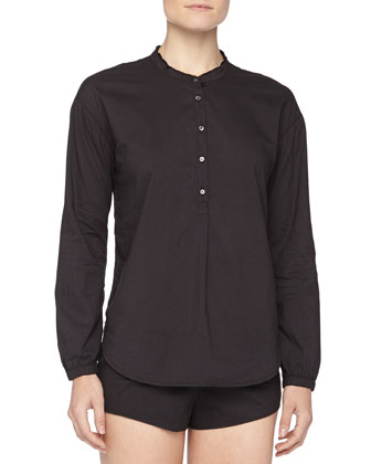 Hadley Poplin Fringed Sleepshirt, Black