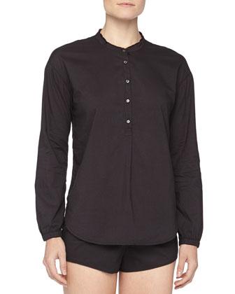 Hadley Poplin Fringed Sleepshirt, Black