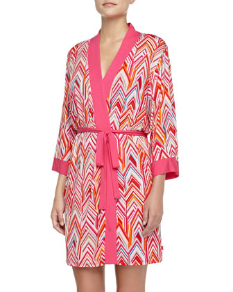 Magda Chevron-Print Drawstring Robe, Red Multi