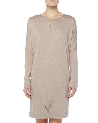 Cashmere-Blend Soho Batwing Sleepshirt, Ash Rose